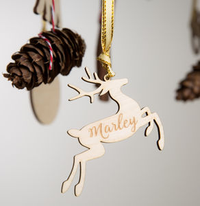 Personalised Wooden Reindeer Christmas Bauble