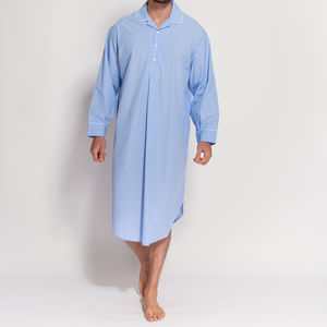 Men's Crisp Blue And White Striped Nightshirt - men's fashion