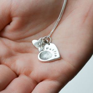 Personalised Silver Fingerprint Charm Necklace - gifts for mothers