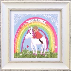 Personalised Girl And Unicorn Print