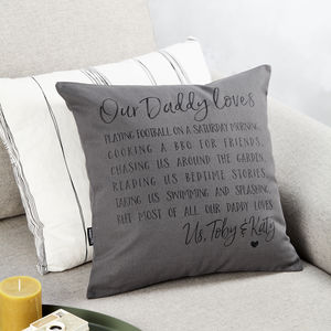 Personalised Dad Loves Cushion - father's day gifts