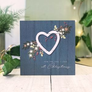 One I Love Blue Country Christmas Botanical Card - new in christmas