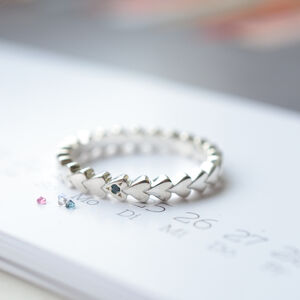 Birthstone Silver Heart Eternity Personalised Ring