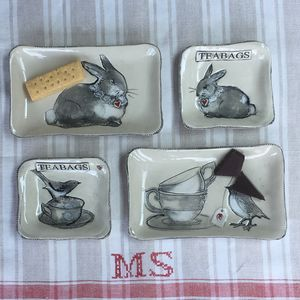 Ceramic Teabag Dish And Other Flat Dishes - utensils