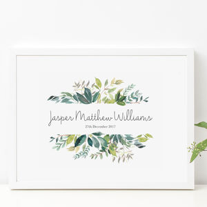 Personalised Neutral Watercolour Leaf Nursery Print