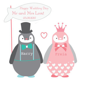 Happy Wedding Day Penguin Card