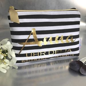 Personalised 'Stripe' Luxury Makeup Bag - make-up & wash bags