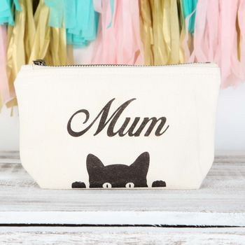 Personalised Small Canvas Pouch With Peeping Cat