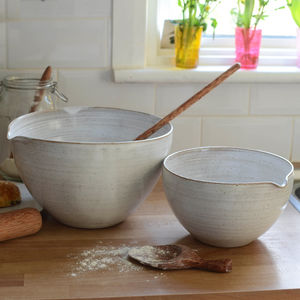 Hand Thrown Mixing Bowl With Lip - kitchen