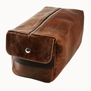 Personalised Oversized Leather Wash Bag
