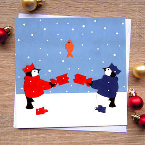 'Penguin Card', Cute Christmas Card - cards & wrap