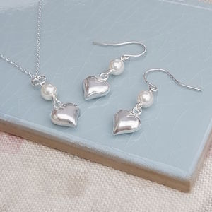 Sterling Silver Heart Pendant And Earring Set - wedding jewellery