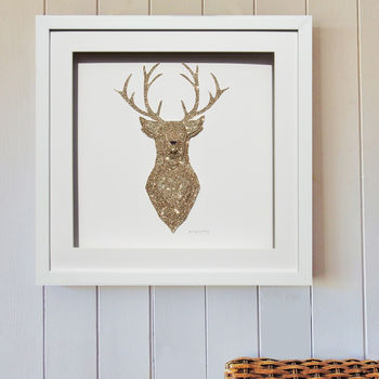 Personalised Sparkling 3D Stag Artwork Gold Or Silver