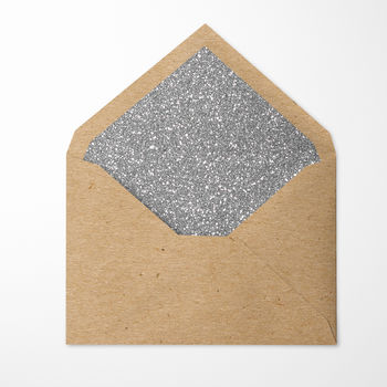 Silver Glitter Lined Envelopes. Pack Of 10