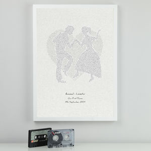 First Dance Typographic Lyrics Print - personalised