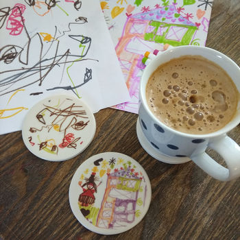 Childs Drawing Coasters Personalised Teachers Gifts
