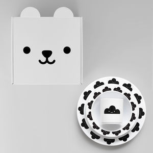 Happy Cloud Plate, Cup And Bowl Gift Set Black