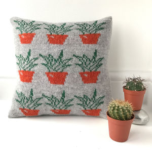 Knitted Lambswool Cactus Cushion