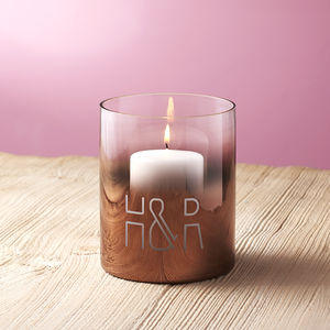 Personalised Initials Copper Ombre Candle Holder - dining room