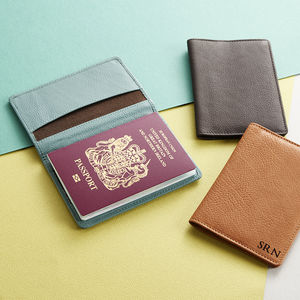Personalised Leather Passport Holder - luggage tags & passport holders