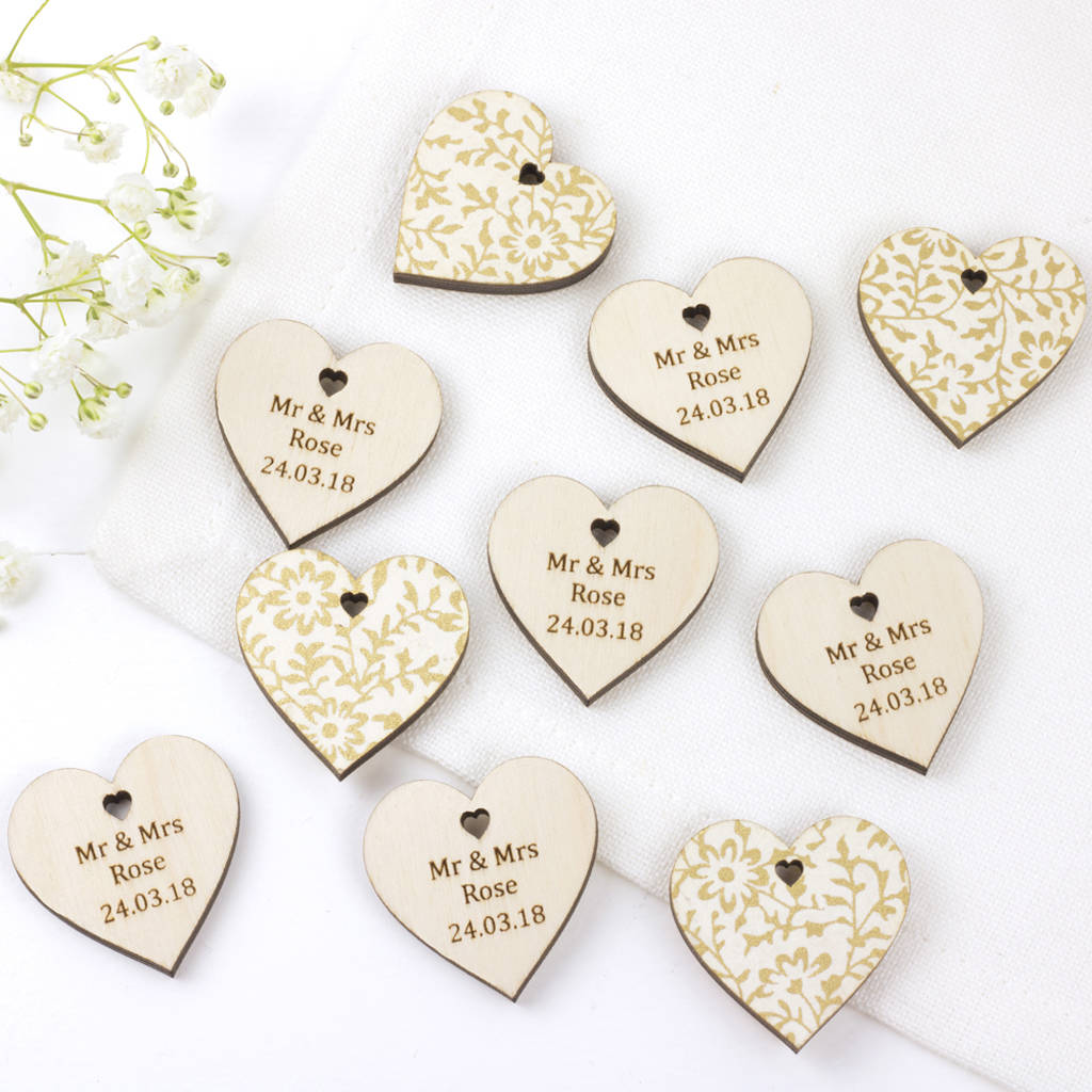 wedding favour hearts personalised by artcuts | notonthehighstreet.com