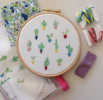 Cactus Plants Hand Embroidery Wall Hoop Kit