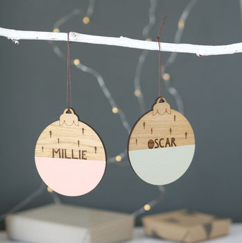Personalised Name Wooden Christmas Bauble