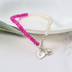 Personalised Pink Gemstone And Pearl Beaded Bracelet - bracelets & bangles