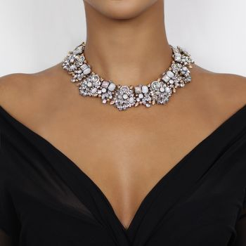 White And Gold Rhinestone Statement Bib Necklace