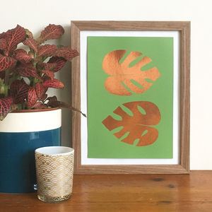 Copper Foil Monstera Leaf Mini Print