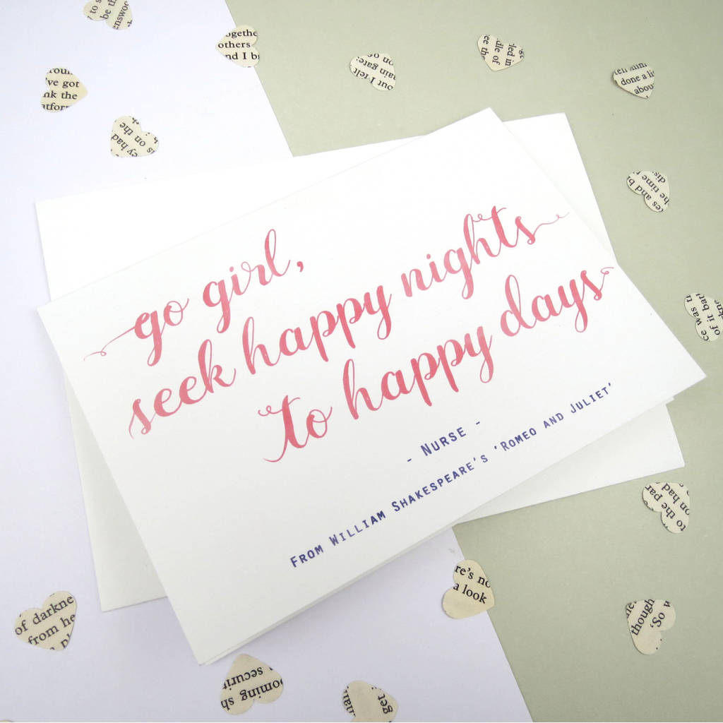 U0027Go Girl, Seek Happy Nightsu0027 Shakespeare Quote Card. U0027
