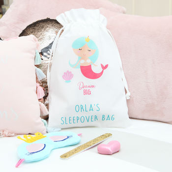 Personalised Mermaid Sleepover Bag And Accessories