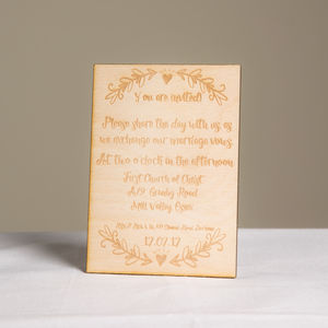 Personalised Wooden Wedding Invitations Set Of 20 - invitations
