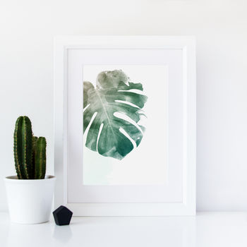Monstera Watercolour Botanical Leaf Art Print