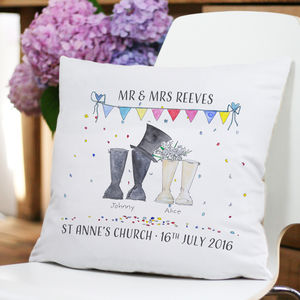 Personalised Wedding Welly Boot Cushion Cover - cushions