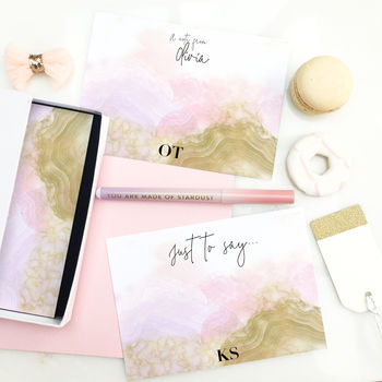 Personalised Notelets Writing Set 'Geode'