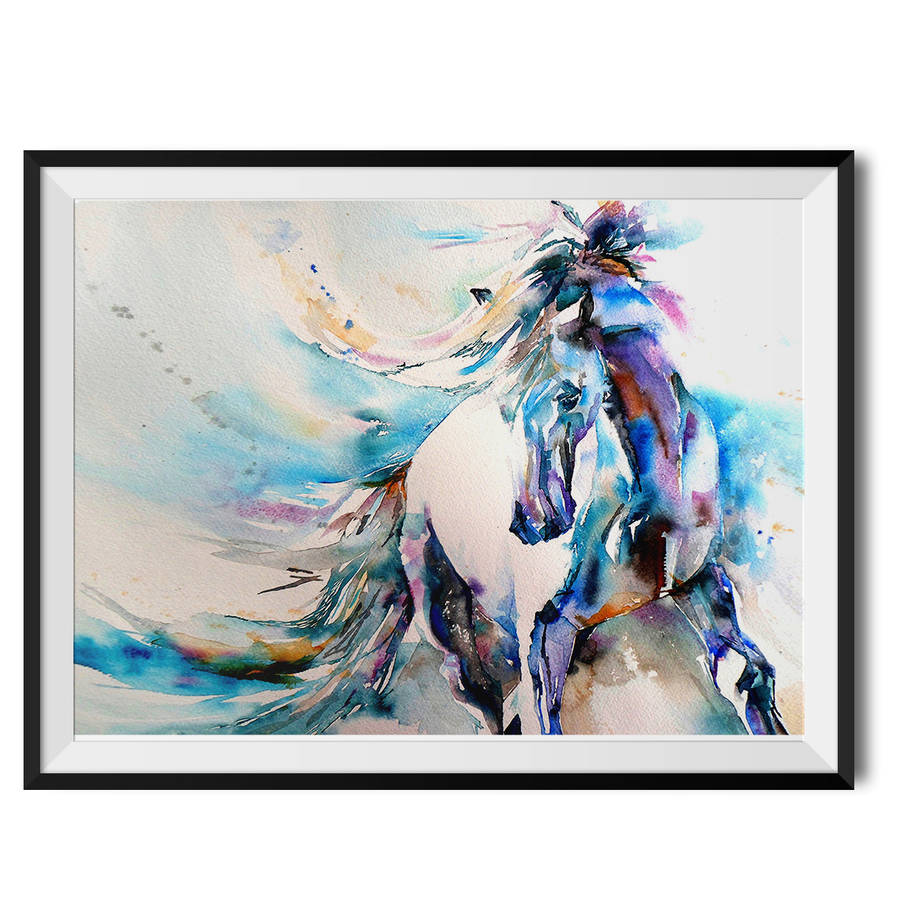 spanish horse watercolour fine art print by wraptious. Black Bedroom Furniture Sets. Home Design Ideas