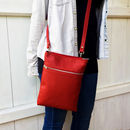 Red Leather 'Marldon Zipper' Cross Body Bag