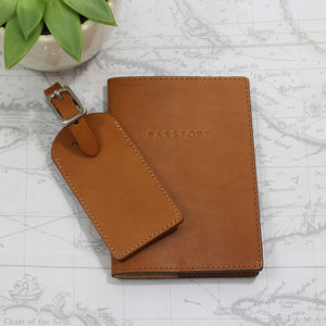 Personalised Italian Leather Passport And Luggage Tag - passport & travel card holders