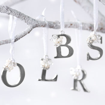 Silver And Pearl Hanging Letter Decoration