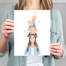 Personalised Mum Piggy Back Portrait