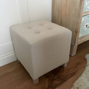 Hassock Cream Square Buttoned Coastal Foot Stool - furniture