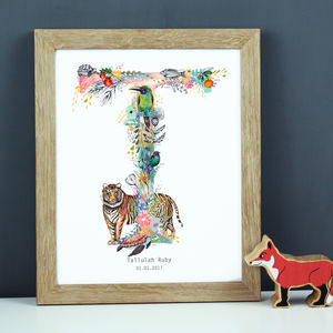 Personalised T To Z Pastel Wildlife Letter Print - drawings & illustrations