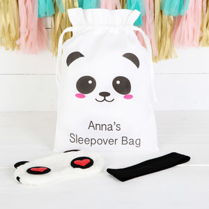 Personalised Panda Sleepover Bag And Accessories