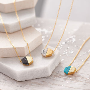 Hexagonal Marble Stone Necklace - new season