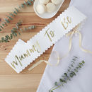White And Gold Foiled Baby Shower Mother To Be Sash