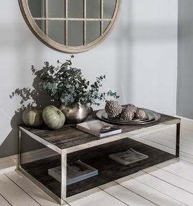 Kingswood Oak And Steel Coffee Table - furniture