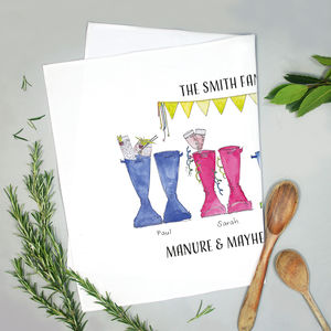 Personalised Welly Boot Family Tea Towel - kitchen linen