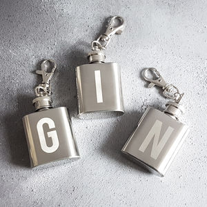 Personalised Initial Mini Hip Flask Keyring - gifts for him