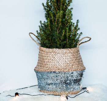 Silver Sequin Weave Xmas Tree Basket
